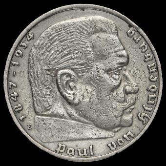 Germany 1935 Silver 5 Reichsmark Reverse