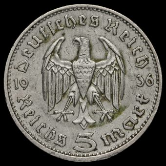 Germany 1936 Silver 5 Reichsmark Obverse