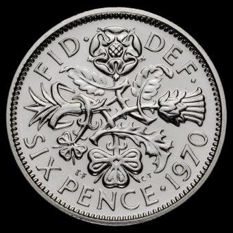 1970 Elizabeth II Proof Sixpence Reverse
