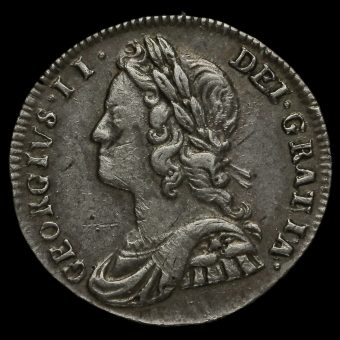1737 George II Early Milled Silver Maundy Twopence Obverse