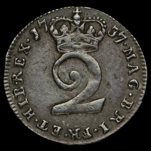 1737 George II Early Milled Silver Maundy Twopence Reverse