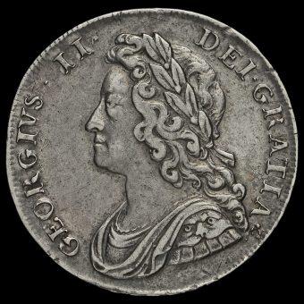 1739 George II Early Milled Silver Half Crown Obverse