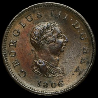 1806 George III Early Milled Copper Halfpenny Obverse