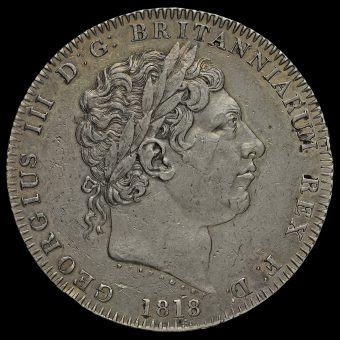 1818 George III Milled Silver LIX Crown Obverse