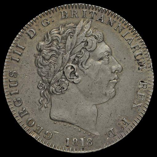 1818 George III Milled Silver LIX Crown Obverse