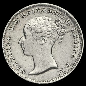 1839 Queen Victoria Young Head Silver Fourpence / Groat Obverse