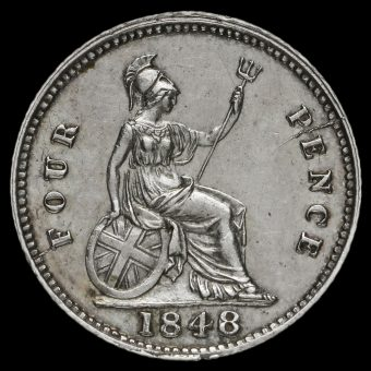 1848/6 Queen Victoria Silver Fourpence / Groat Reverse