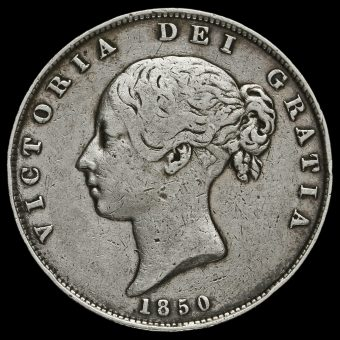 1850 Queen Victoria Young Head Silver Half Crown Obverse