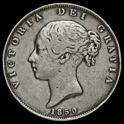 1850 Queen Victoria Young Head Silver Half Crown Obverse