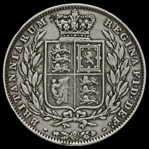 1850 Queen Victoria Young Head Silver Half Crown Reverse