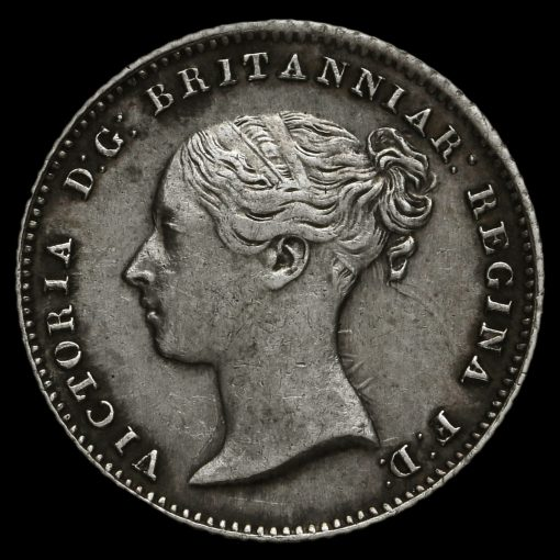 1855 Queen Victoria Young Head Silver Fourpence / Groat Obverse