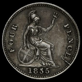 1855 Queen Victoria Young Head Silver Fourpence / Groat Reverse
