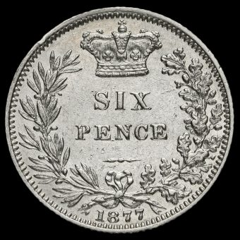 1877 Queen Victoria Young Head Silver Sixpence Reverse