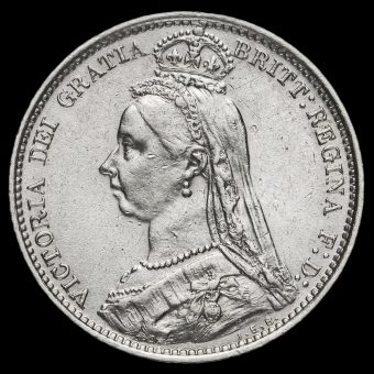 1887 Queen Victoria Jubilee Head Silver Wreath Sixpence Obverse