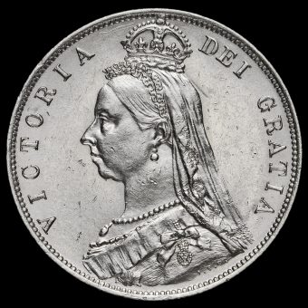 1888 Queen Victoria Jubilee Head Silver Half Crown Obverse
