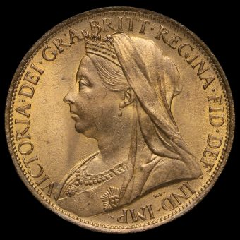 1900 Queen Victoria Veiled Head Penny Obverse