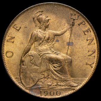 1900 Queen Victoria Veiled Head Penny Reverse
