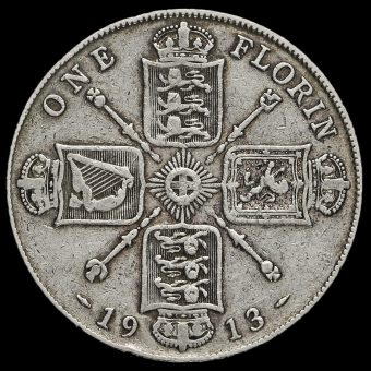 1913 George V Silver Florin Reverse