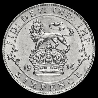 1916 George V Silver Sixpence Reverse