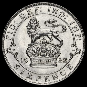 1922 George V Silver Sixpence Reverse