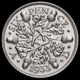 1933 George V Silver Sixpence Reverse