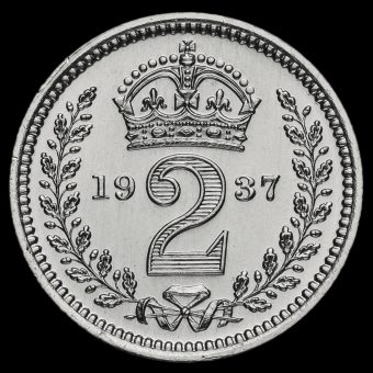 1937 George VI Silver Maundy Twopence Reverse