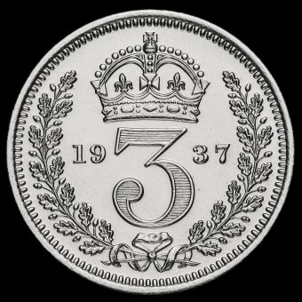 1937 George VI Silver Maundy Threepence Reverse