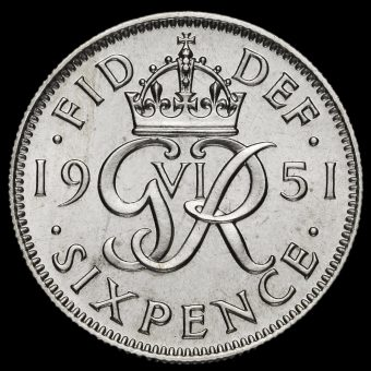 1951 George VI Proof Sixpence Reverse