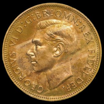 1951 George VI Bronze Proof Halfpenny Obverse