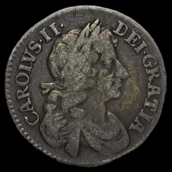 1677 Charles II Early Milled Silver Maundy Fourpence Obverse