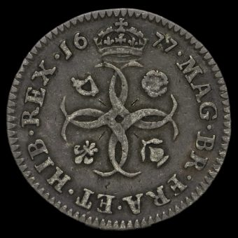 1677 Charles II Early Milled Silver Maundy Fourpence Reverse