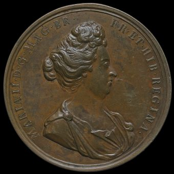 1690 Mary as Regent Large Bronze Medal Obverse