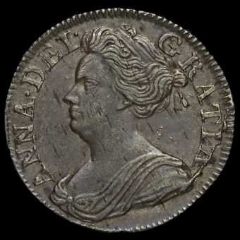 1709 Queen Anne Early Milled Silver Maundy Threepence Obverse