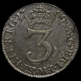 1709 Queen Anne Early Milled Silver Maundy Threepence Reverse