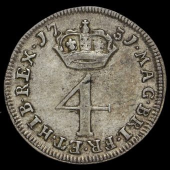 1731 George II Early Milled Silver Maundy Fourpence Reverse