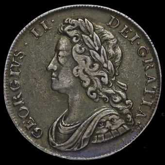 1739 George II Early Milled Silver Half Crown Obverse