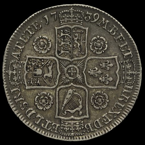 1739 George II Early Milled Silver Half Crown Reverse