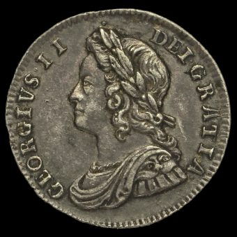 1743 George II Early Milled Silver Maundy Threepence Obverse
