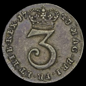 1743 George II Early Milled Silver Maundy Threepence Reverse