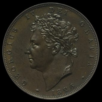 1826 George IV Copper Farthing Obverse