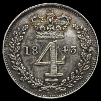 1843 Queen Victoria Young Head Silver Maundy Fourpence Reverse