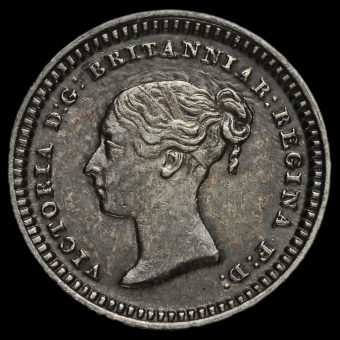 1843 Queen Victoria Young Head Silver Three-Halfpence Obverse