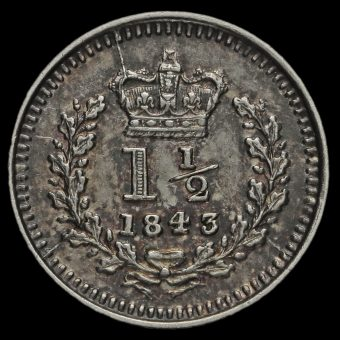 1843 Queen Victoria Young Head Silver Three-Halfpence Reverse