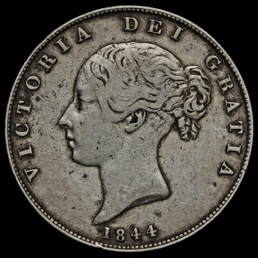 1844 Queen Victoria Young Head Silver Half Crown Obverse