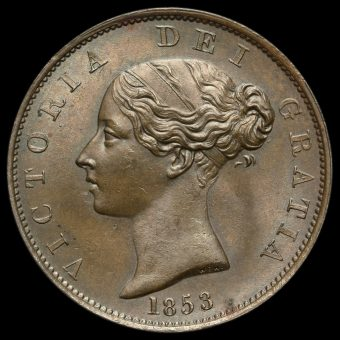 1853 Queen Victoria Young Head Copper Halfpenny Obverse