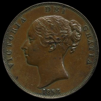 1858 Queen Victoria Young Head Copper Penny Obverse