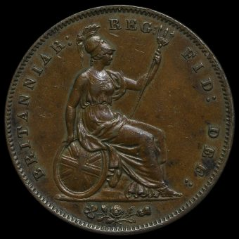 1858 Queen Victoria Young Head Copper Penny Reverse