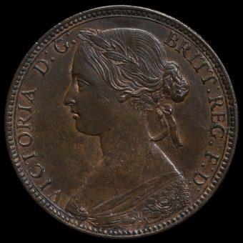 1860 Queen Victoria Bun Head Penny Obverse