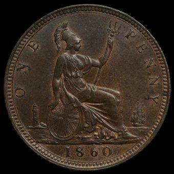 1860 Queen Victoria Bun Head Penny Reverse