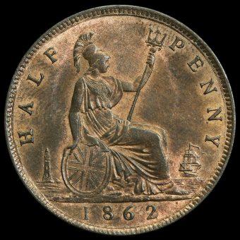 1862 Queen Victoria Bun Head Halfpenny Reverse